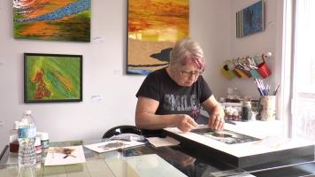 L'Art Atelier pemet à Marielle de rencontrer son public et d'échanger.