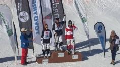 Les championnes de la coupe nationale de ski acrobatique en bosses en parallèle au Centre d'Excellence Acrobatique à Val Saint-Côme le 19 mars. Photos: Laurie Fournier.