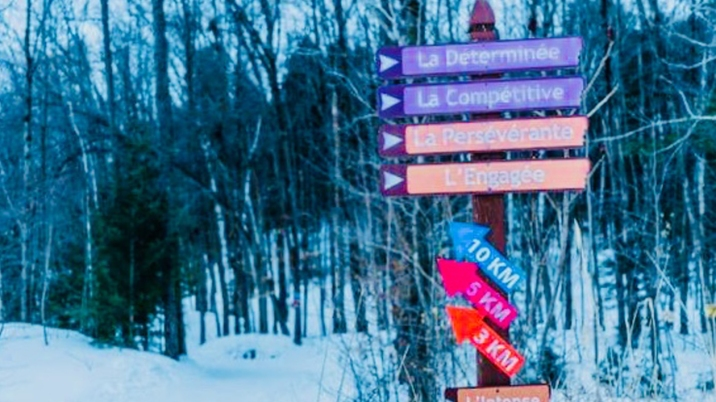 Noms des pistes du sentier Émilie-Mondor empruntées par les participants de raquette pleine lune. Photos: Laurie Vigneault.