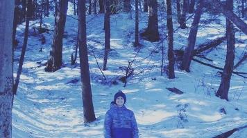 Julien Brochu lors de la randonnée, un kilomètre avant l'arrivée.