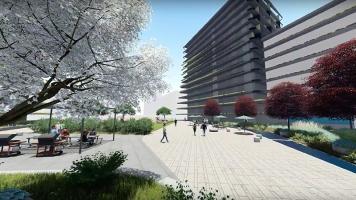 La Croisée urbaine offre de vastes espaces extérieurs qui favorisent le rassemblement des citoyens. Source: Ville de Terrebonne.
